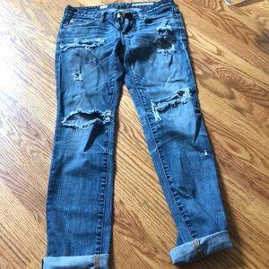 Adriano Goldschmied distressed cigarette leg jeans